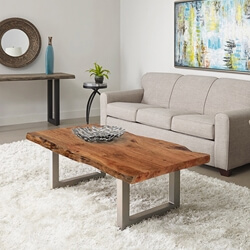 Natural Acacia Wood & Steel Rustic Live Edge Coffee Table