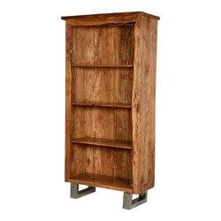 Natural Edge Modern Acacia Wood & Steel Standing 4-Shelf Bookcase