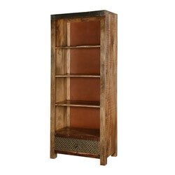 Martinsburg 4 Open Shelf Rustic Reclaimed Wood Bookcase With Drawer