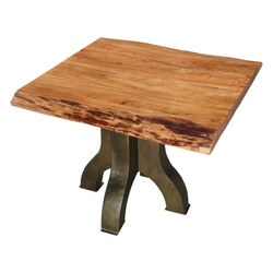Natural Acacia wood & Iron Rustic 4 Legged Pedestal Live Edge Table