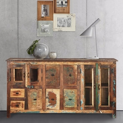 Phoenix Rustic Reclaimed Wood 7 Drawer Large Sideboard