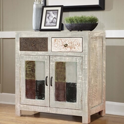 Barada Chic Rustic Mango Wood 2 Drawer Sideboard Cabinet