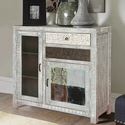 Florida 2 Drawers Distressed Mango Wood Accent Storage Cabinet