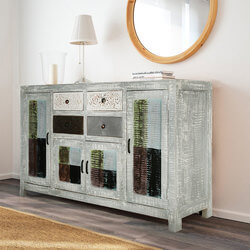 Oklahoma Trendy Weathered Finished Wide Rustic Sideboard Cabinet