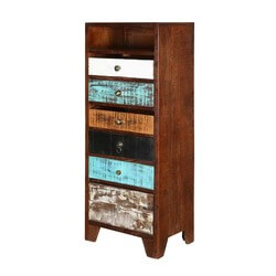 Rustic Colors Mango Wood Accent 6 Drawer Tall Dresser