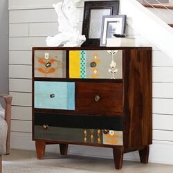 Cindrella Mango Wood 5 Drawer Accent Dresser Chest