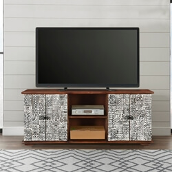Riviera Rustic Mango Wood TV Stand with Cabinet Shelves