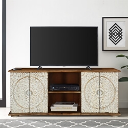 """Mandala 59"""" Hand Carved & Painted Solid Wood TV Stand Media Console"""