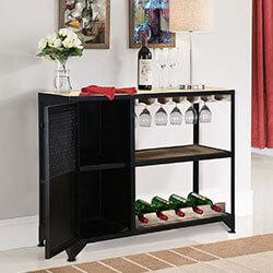 Humarock Mango Wood Open Shelve Industrial Wine Bar Serving Cabinet