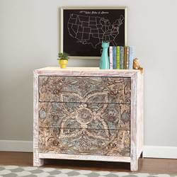 Floral Mandala Mango Wood Hand Carved 3 Drawer Accent Dresser
