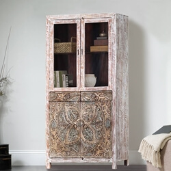 Floral Mandala Handcarved Rustic Solid Wood Display Cabinet Armoire