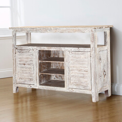 Mifflin Distressed Mango Wood Handcrafted Rustic Buffet Table