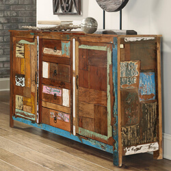 Arizona Rustic Reclaimed Wood 4 Drawer Large Sideboard Cabinet