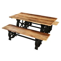 Raleigh Chic Industrial Iron Base & Wooden Top Dining Table w 2 Bench