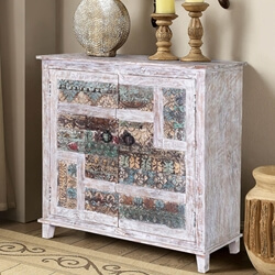 Collice White Finish Rustic Mango Wood Accent Storage Cabinet
