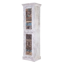 Collis Mango Wood Handcrafted Tall Accent Storage Cabinet
