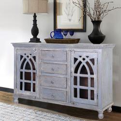 Mughal Rustic Mango Wood Glass Door 4 Drawer Large Sideboard Cabinet