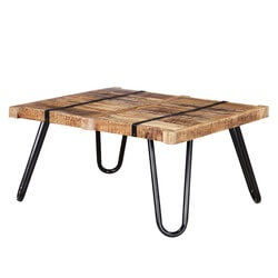 Regis Solid Mango Wood Industrialized Accent Rustic Coffee Table