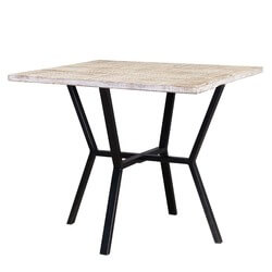 Dixon Solid Mango Wood Industrialized Accent Four Seater Dining Table