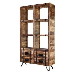Regis 6 Open Shelf Solid Wood Industrial Cube Bookcase With Drawers