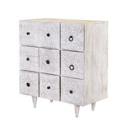 Savannah Rustic Mango Wood 5 Drawer Accent Dresser w Cabinet