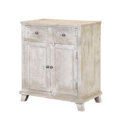 Newton Rustic Solid Mango Wood 2 Drawer Accent Storage Cabinet