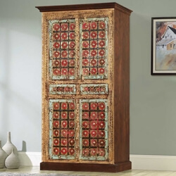 Classic Empire Solid Wood Brass Inlay 4 Door Tall Storage Cabinet