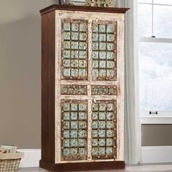 Winter Empire Mango Wood & Brass Split 2 Drawer Armoire