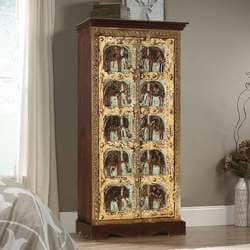 Rustic Gothic Freestanding Mango Wood Small Armoire With Shelves