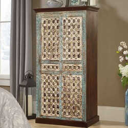Forgotten Empire Mango Wood Brass Inlay Cabinet Armoire With Drawers