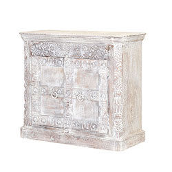 Buena Frosted White Rustic Mango Wood 2 Door Buffet Storage Cabinet