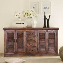 Vinton Rustic Solid Wood Shutter Door 4 Drawer Large Sideboard