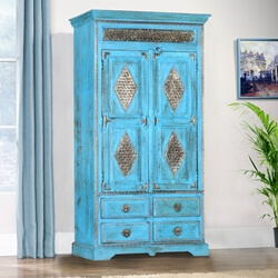 Turquoise Trail Brass Inlay Solid Wood Tall Storage Cabinet W Drawers