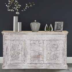 Chartres Frosted White Solid Wood Handcrafted Large Buffet Cabinet