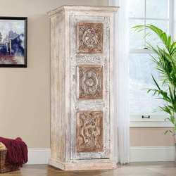 Chartres Frosted White Carved Medallion Wood Accent Tower Cabinet