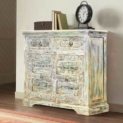 Easmor Distressed Reclaimed Wood 2 Drawer Storage Cabinet
