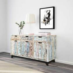 Tucson Handcrafted Reclaimed Wood 3 Drawer Large Sideboard Cabinet