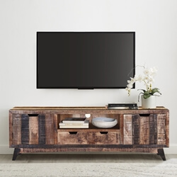 Boulder Handcrafted 2-Drawer Rustic Mango Wood TV Stand Media Console