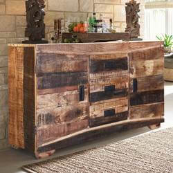 Modern Frontier Handcrafted Mango Wood 3 Drawer Rustic Sideboard