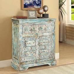Frosted Blue Reclaimed Wood Hand Carved Storage Cabinet