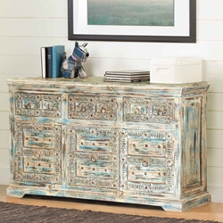 Winter Morning Elizabethan Reclaimed Wood 3 Drawer Rustic Sideboard