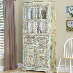Morriston Distressed Solid Reclaimed Wood Accent Display Cabinet