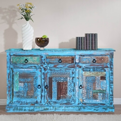 Bolivar Distressed Reclaimed Wood Hand Carved 3 Drawer Large Sideboard