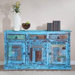 Bolivar Distressed Blue Reclaimed Wood 3 Drawer Large Sideboard