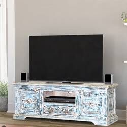 Volente Winter Morning Reclaimed Wood Rustic TV Stand Media Console