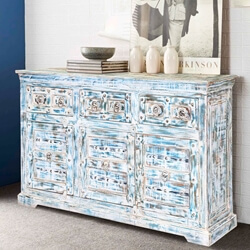 Volente Distressed Reclaimed Wood 3 Drawer Rustic Sideboard Cabinet