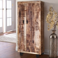 Industrial Pioneer Rustic Solid Wood  Armoire Wardrobe With Shelves