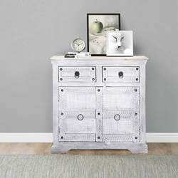 Istres Winter White Reclaimed Wood 2 Drawer Storage Cabinet
