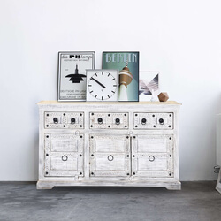 Rehoboth Whitewashed Reclaimed Wood 3 Drawer Rustic Sideboard Cabinet