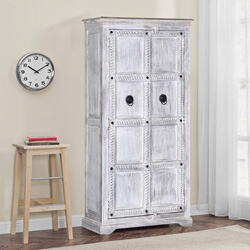 Winter White Tudor Reclaimed Wood Rustic Armoire